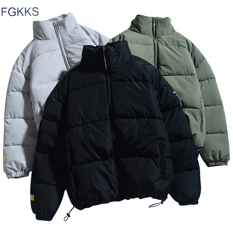 FGKKS Thick Jacket Parkas Warm Winter Fashion Coat Men Men's Casual New Male Stand Solid title=