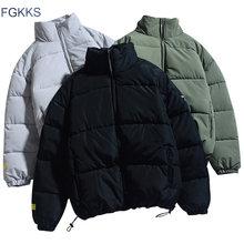 FGKKS zima nowych mężczyzna jednolity kolor parki marka jakości męska stojak kołnierz ciepły gruby kurtka mężczyzna moda Parka w stylu Casual płaszcz