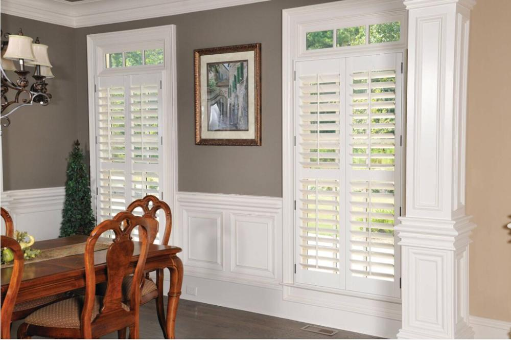 Custom Basswood Plantation Shutters  Wooden Blinds Solid Wood Shutter Louver PS215