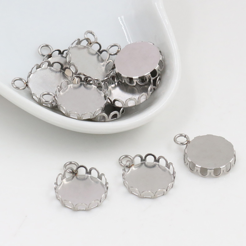 20pcs 12mm Inner Size Stainless Steel Material Simple Style Cabochon Base Cameo Setting Charms Pendant Tray (T7-49)