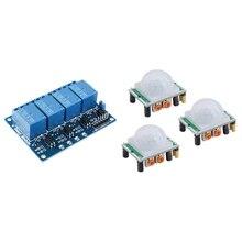3Pcs HC-SR501 Adjust IR Pyroelectric Infrared PIR Motion Sensor Detector Module With Relay Module 4 Channel DC 5V