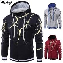 MarKyi Spring Autumn Lightning printed Pullovers Sweatshirts Sweat Homme 3D Tracksuit Men's Hoodie Stranger