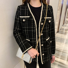 Abrigo de Tweed de otoño invierno 2020, chaqueta de lana Vintage de manga larga con pequeña fragancia para mujer, Chaqueta corta de lana negra
