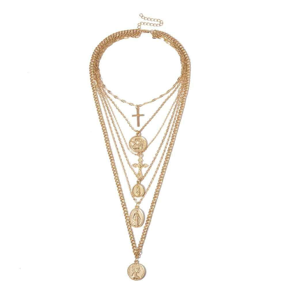 Multi Layer แกะสลักเหรียญ Angel จี้ Choker สร้อยคอ Gothic Virgin Mary Cross Chunky Chain สร้อยคอยาวผู้หญิงเครื่องประดับ