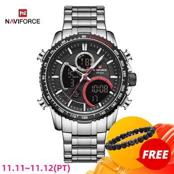 New NAVIFORCE Luxury Mens Watches Fashion Sport Chronograph Top Brand Quartz Watch Full Steel Big Dial Clock Relogio Masculino