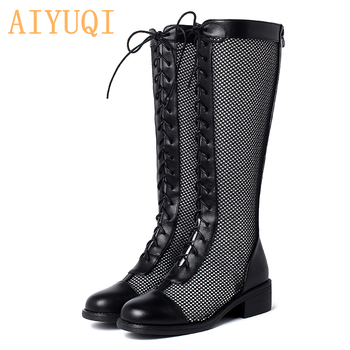AIYUQI Women Summer Boots 2020 New Genuine Leather Women Spring Boots Breathable Mesh Gauze Tube Ladies Shoes