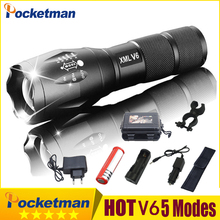 2020 HOT Ultra Bright V6 LED Tactical Flashlight  Aluminum Light Zoomable Flashlight Torch Lamp For 18650 or 3*AAA z75