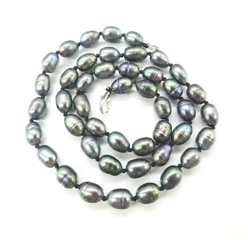"""Промо-Акция! 7-8 мм натуральный черный рис зернистый пресноводный жемчуг ожерелье. Идеальный леди/девушка, вечерние/банкетные. Ювелирное ожерелье 18"""" - Окраска металла: 1 7-8MM black"""