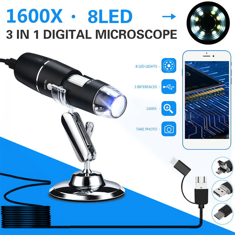 0.3 Mp Hand Held Endoscope Digital Microscope 1600X 8LED ABS Waterproof Photos Computers Real-Time Video Inspection Monitoring