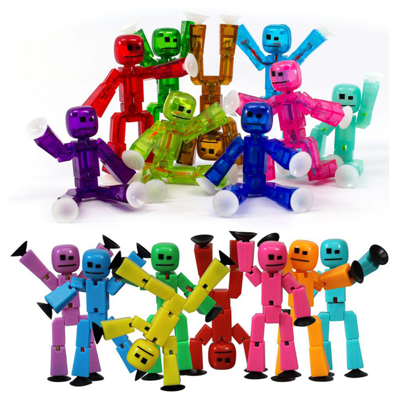 10PCS Cute Sticky Animal Robot Sucker Suction Cup Funny Deformable Stick Bot Action Figure Toys