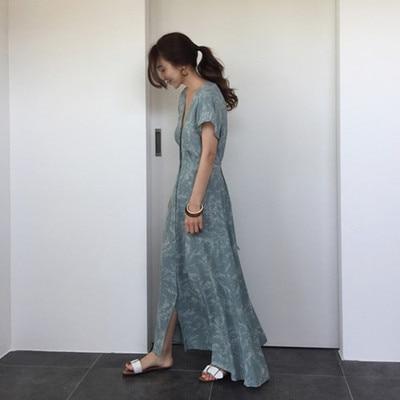 Vintage Maxi Long Summer Dress Short Sleeve Sexy Split Deep V-neck High Waist Tunic Beach Boho Floral Print Party Sukienki