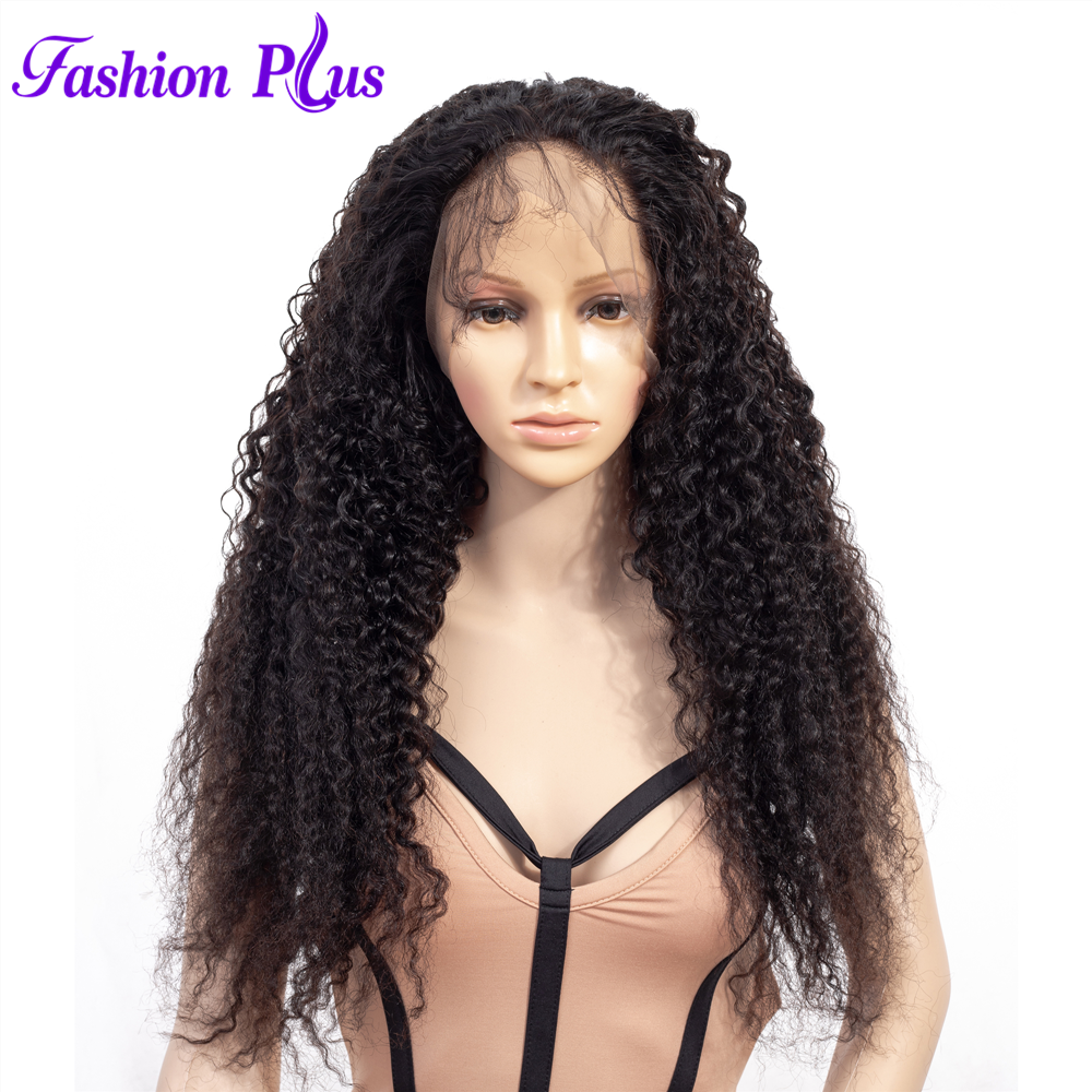 Fashion Plus Full Lace Human Hair Wigs With Baby Hair Brazilian Curly Remy Hair Wig Pre Plucked Bleached Knots Wigs 150% Density