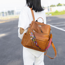 Retro Large Backpack Women Bohemia Style PU Leather Rucksack Women's