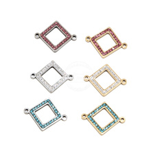 5pcs  Stainless Steel Gold Crystal Connectors Rhombus Charm Links for DIY Bracelet Necklace Jewelry Findings  19x24mm
