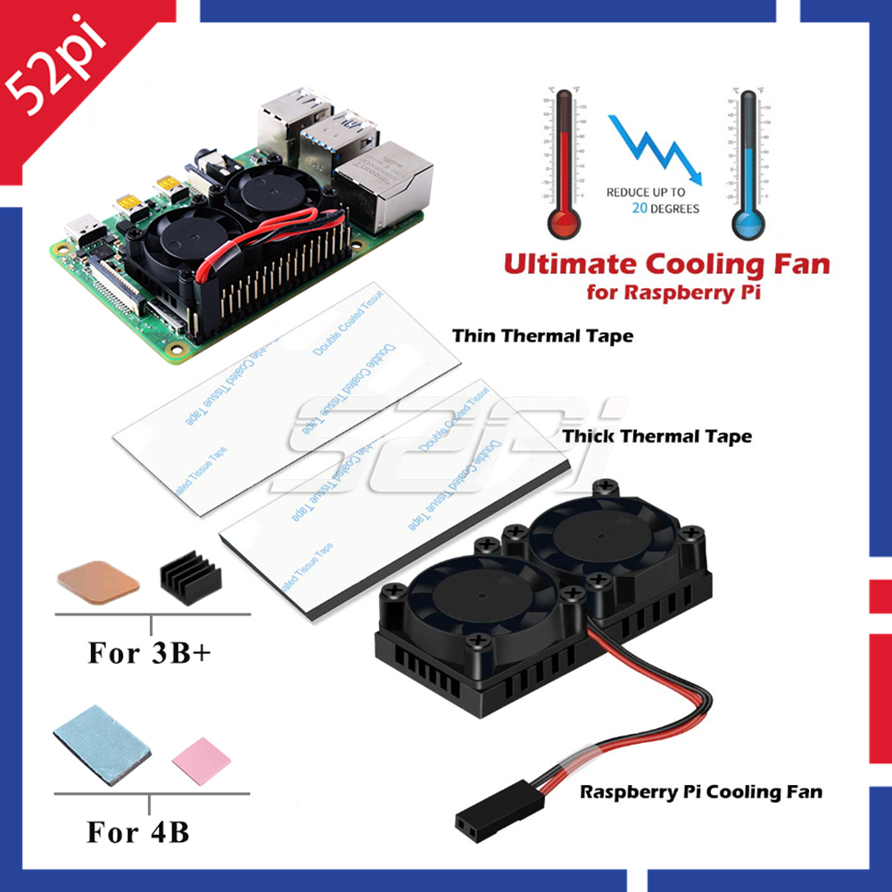52Pi Newest Version! Dual Fan Heatsink With Double Cooling Fans For Raspberry Pi 4 Model B / 3 Model B Plus