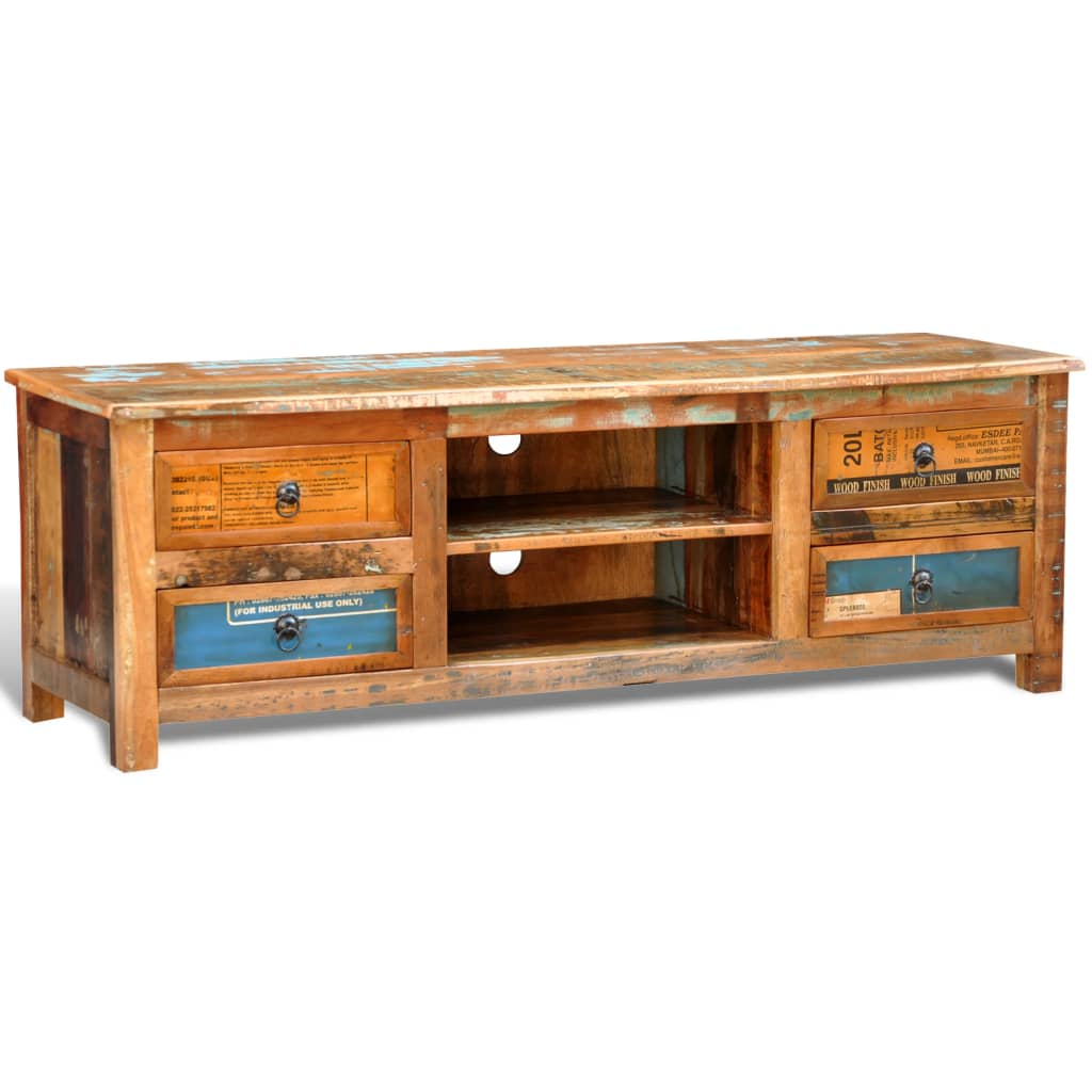 VidaXL Reclaimed Wood TV Cabinet TV Stand 4 Drawers Meuble Vintage Multicolore 4 Tiroirs