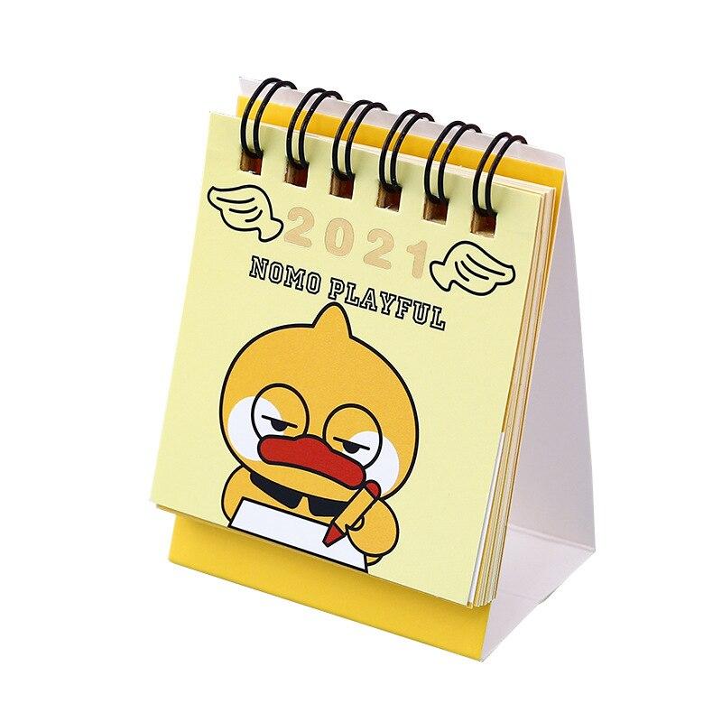 2021 Cartoon Yellow Duck Calendar Kawaii Duck Mini Desk Calendars Daily Schedule Planner 2021.9-2021.12 5
