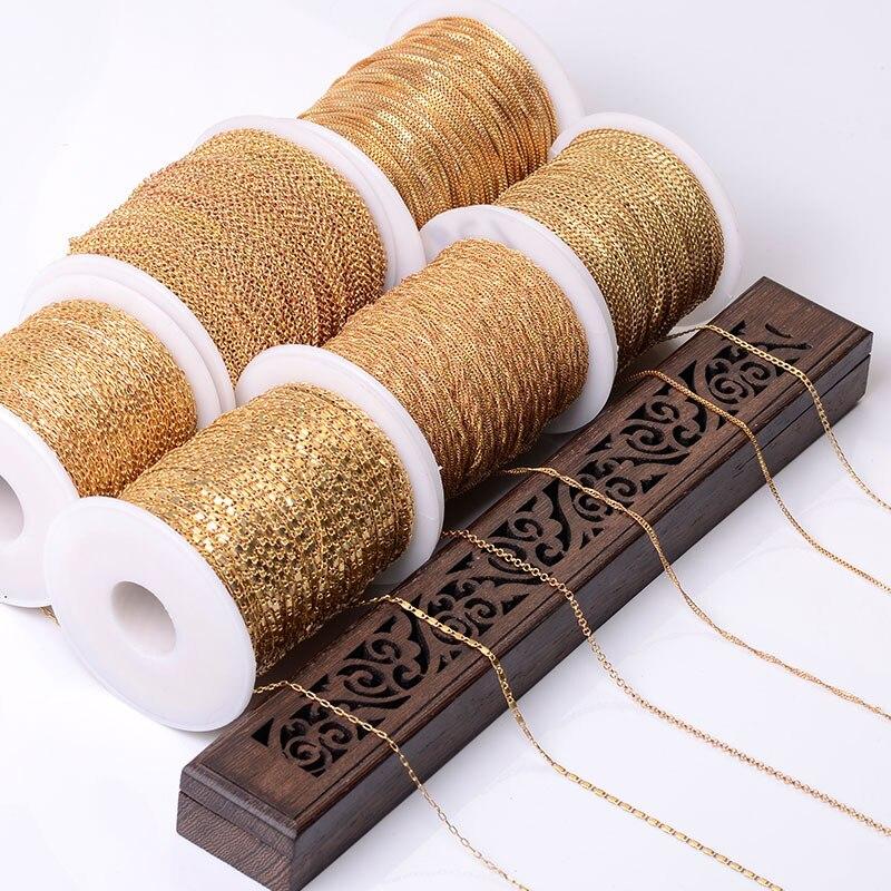 5 mètres collier chaîne en gros argent KC or métal en laiton Bracelet chaîne pour la fabrication de bijoux composants à la main chaîne bricolage