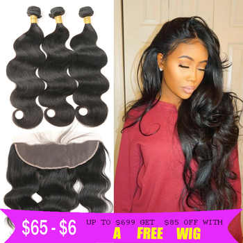 Body Wave Hair Bundles With Lace Frontal Closure Brazilian Human Hair Bundles With Closure MIHAIR Lace Closure With Hair Bundles - DISCOUNT ITEM  58% OFF All Category