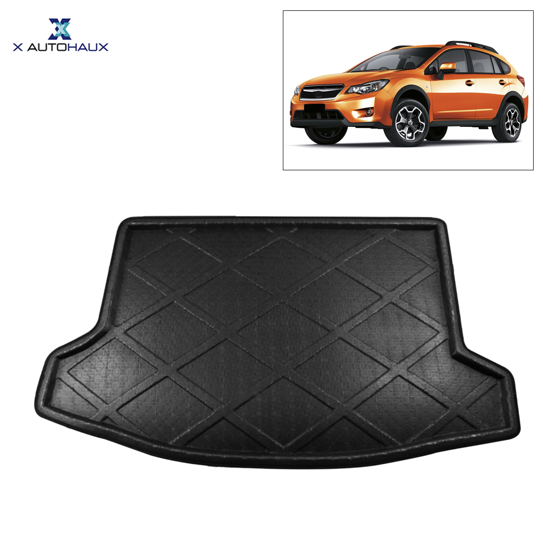 X AUTOHAUX Black Car Rear Trunk Floor Mat Cargo Boot Liner Carpet Tray for Subaru XV XV Crosstrek Outback Forester 2009-2017