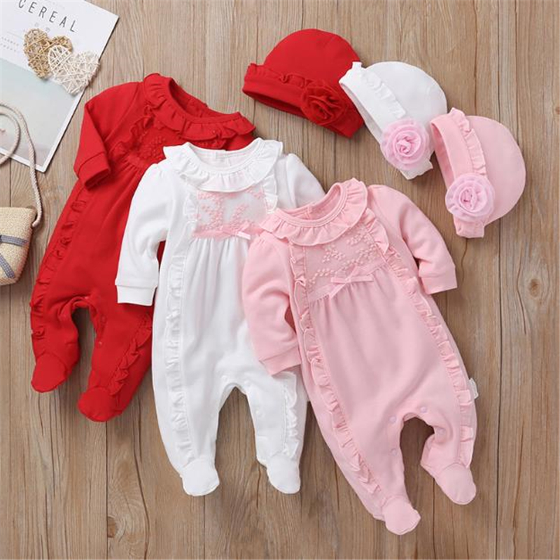 Baby Rompers Girl One Piece Romper+Hat Autumn Winter Long Sleeve Jumpsuit Cotton Toddler Clothing Infant Rompers Kids Jumpsuits