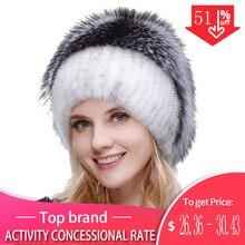 الروسية المألوف فرو منك الثعلب قبعة امرأة الشتاء الدافئة الثعلب محبوك قبعة امرأة جديدة الفراء الطبيعي والمياه الحفر قبعة تزلج