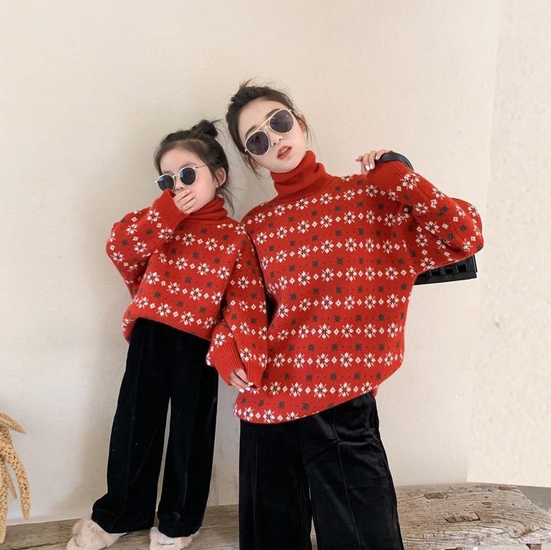 Parent enfant robe net rouge vacances col haut pull garçons et filles noël nouvel an flocon de neige parent enfant pull