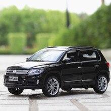 Dla Volkswagen Tiguane Model w skali 1:32 metalowy samochodzik ze stopu SUV Auto stop wycofać moc elektronicznego pojazdu zabawki