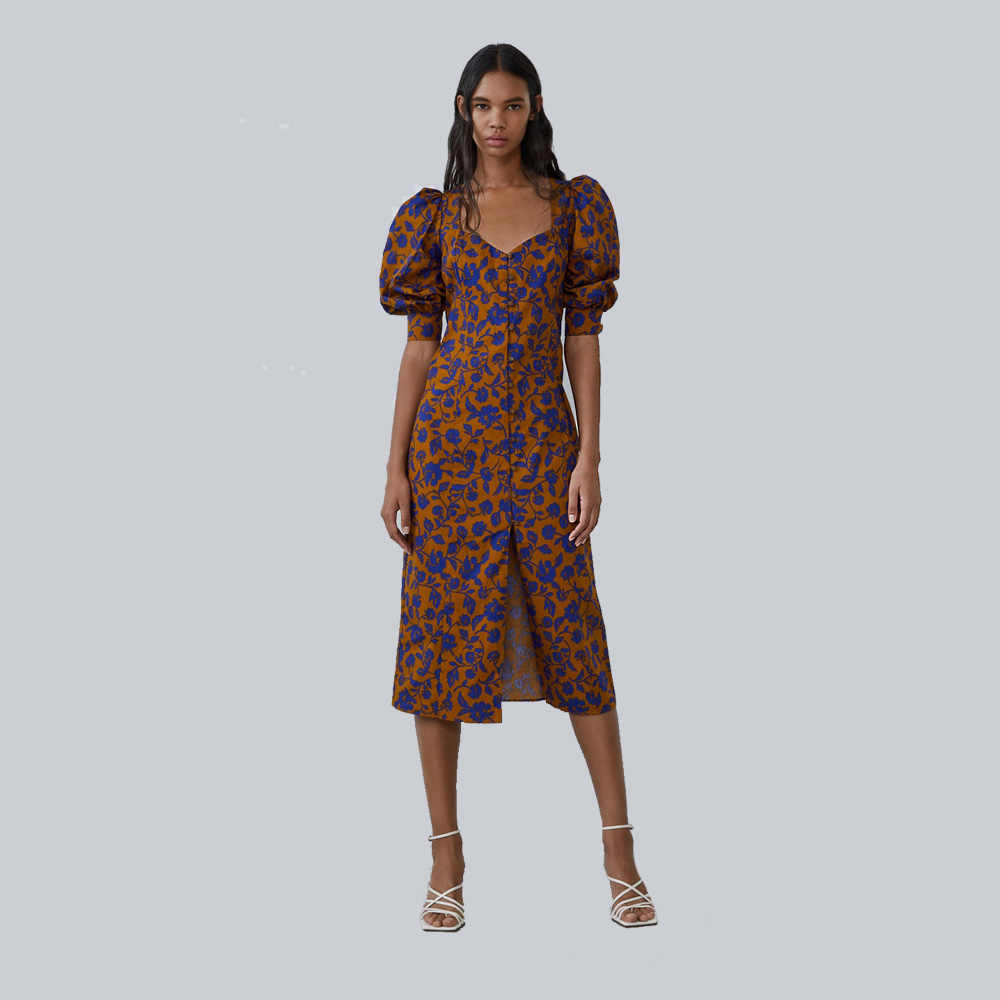 2019 ZA New Yellow Print V-neck Dress Women Clothes in Autumn Winter Fashion Casual Bohemian Dress Gift Party Vacation Wholesale
