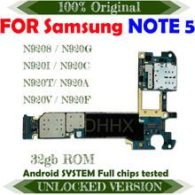 Desbloqueado para Samsung Galaxy Note 5 N9208/N920G/N920I/N920C/N920T/N920V N9200 N920P N920A placa base 32gb Android OS 4G