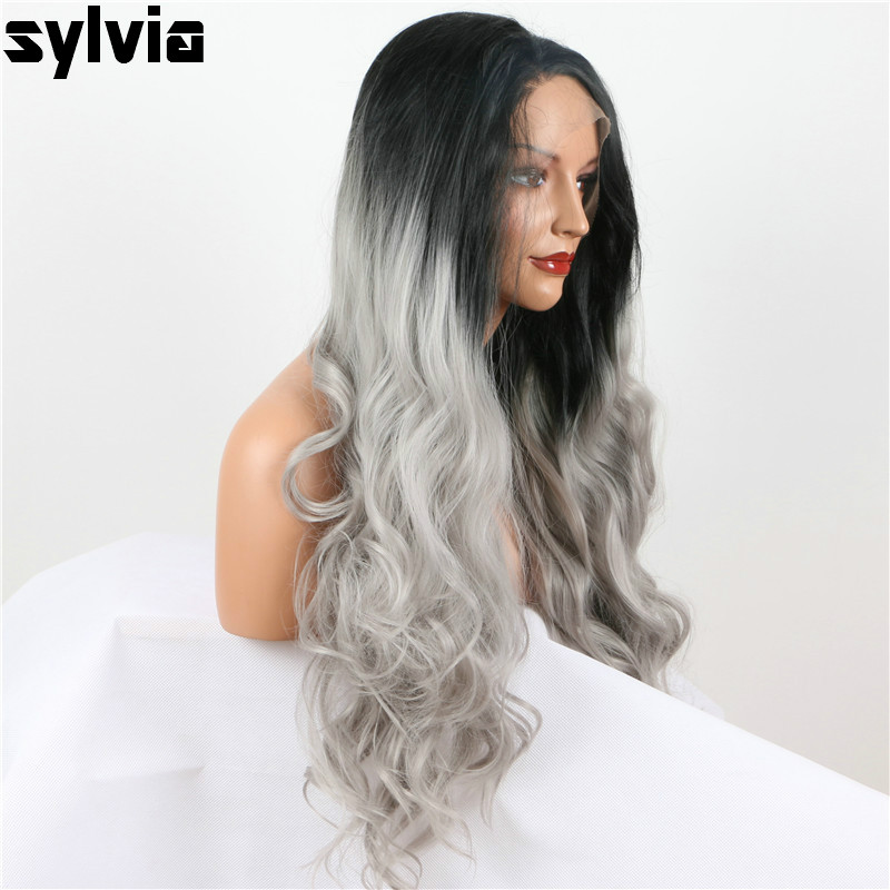 escuras cinza cabelo frontal glueless perucas para mulher