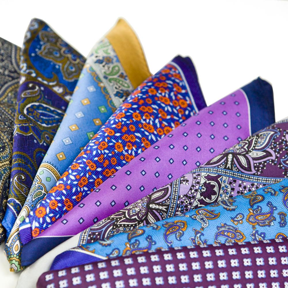 Mens Hanky Pocket Square Multicolor Silk Printed Accessories Free Shipping Colourful Handkerchief Handmade Suit Gift For Men