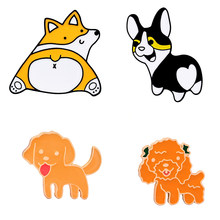 Creative Cartoon Teddy Dog Corgi Brooches Lady Hat Collar Pin Men's Jackets Backpack Badge High Quality Enamel Cute Metal Brooch(China)