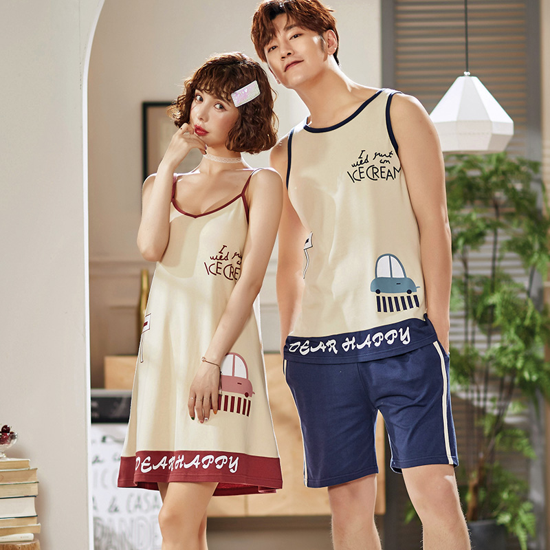 Couples-100-Cotton-Spaghetti-Strap-Nightgowns-for-Women-Summer-Home-Dress-Sleepwear-Night-Dress-Nightdress-Men