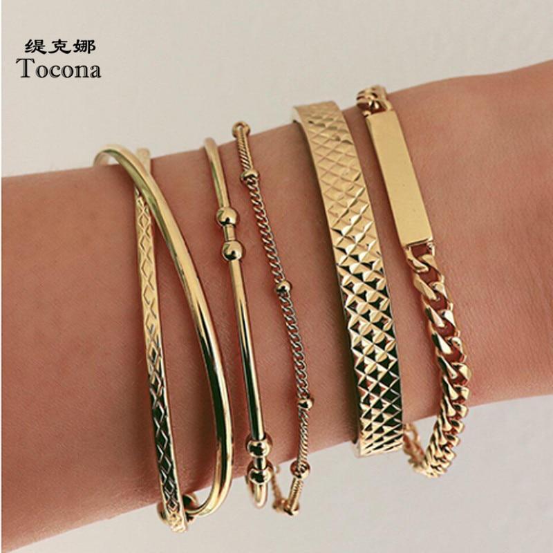 Tocona Bohemian 5pcs/sets Gold Bracelets Fashion Metal Chain Geometric Bead Bangles Jewelry for Women Accessories 8981
