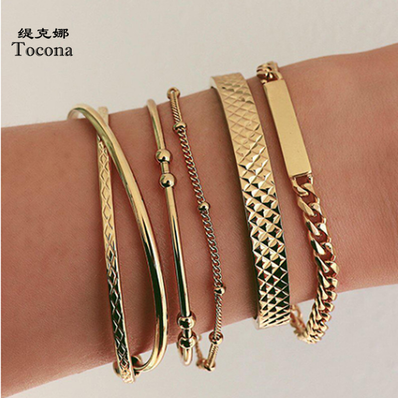 Tocona Bohemian 5pcs/sets Gold Bracelets Fashion Metal Chain Geometric Bead Bangles Jewelry for Women Accessories 8981
