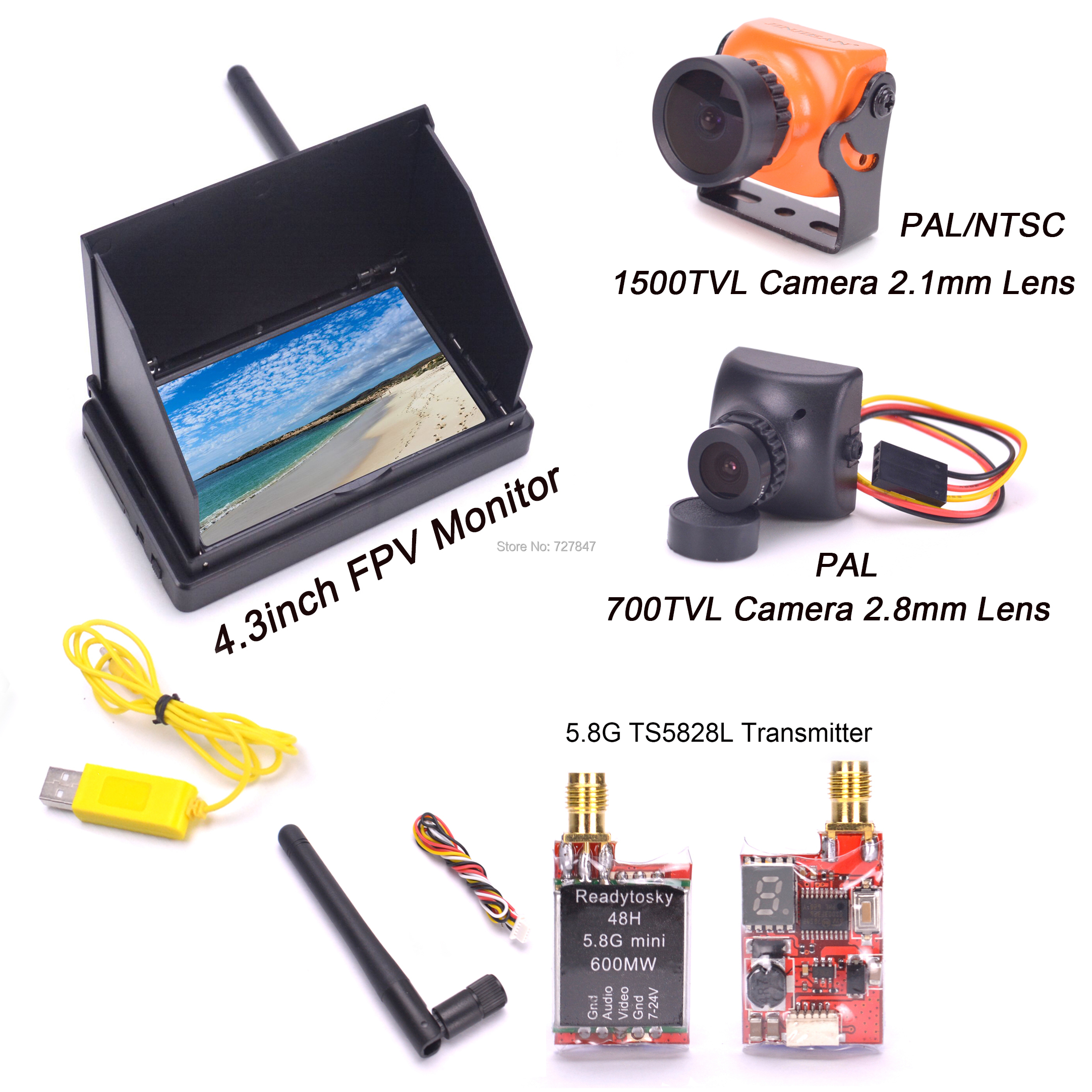 4.3inch 48CH LCD 480 X 22 Wireless Receiver Monitor Built-in Battery TS5828L 48CH 600mW 700TVL / 1500TVL Camera For FPV Drone