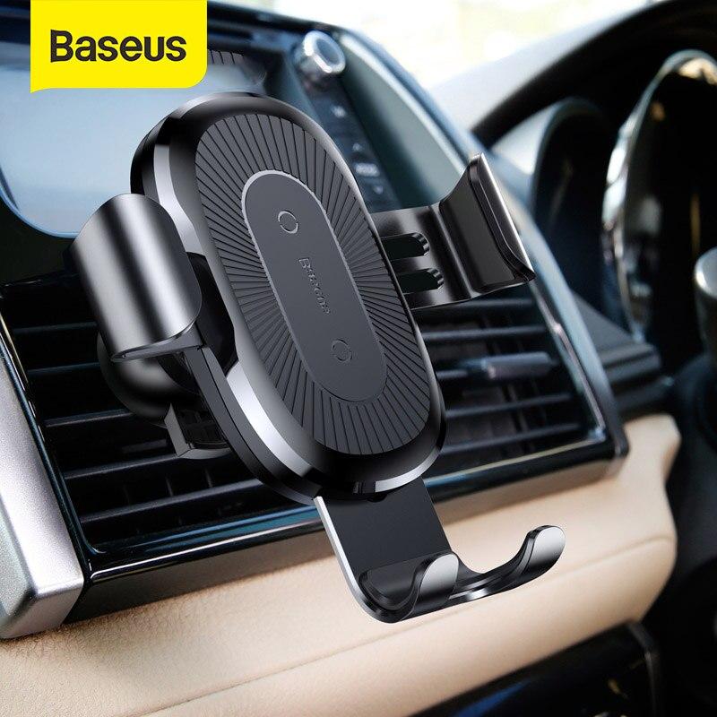 Soporte de teléfono Baseus Gravity para coche, carga rápida inalámbrica de 10W para teléfono inteligente Iphone Samsung, soporte para salida de aire y soporte de coche