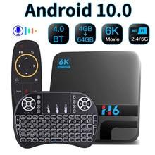 Caixa superior ajustada do jogador dos meios de bluetooth 6k 3d da caixa esperta da tevê android 10 h616 4gb 32gb 64gb google assistente da voz 2.4g 5ghz wifi