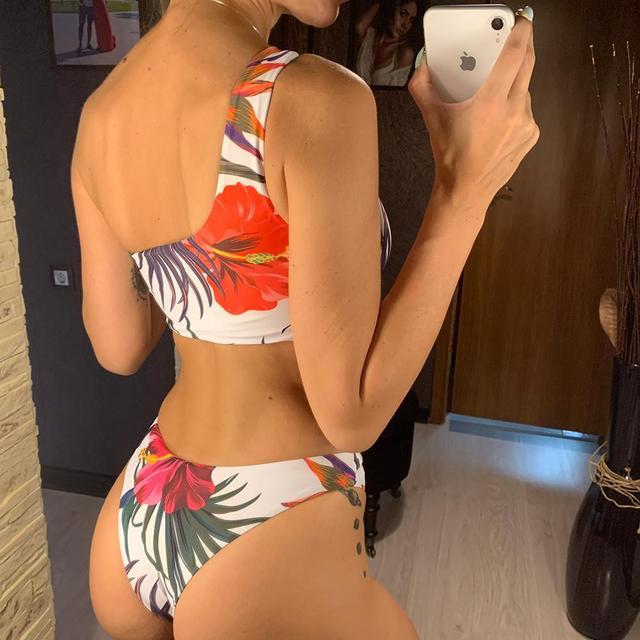 One Shoulder Floral Bikini Female Swimsuit
