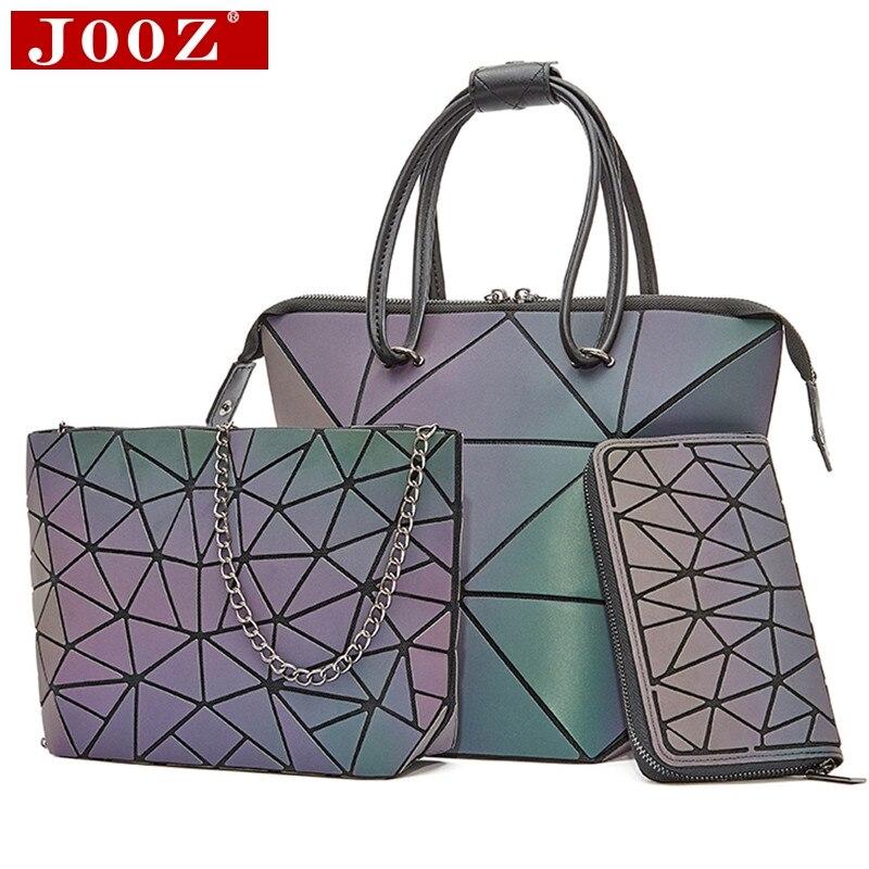 Luxury Fold Deform Women Messenger Bag 3Pcs Set Luminous Color Ladies Hand Bags Female Shoulder Bag Laser Purse And Handbags