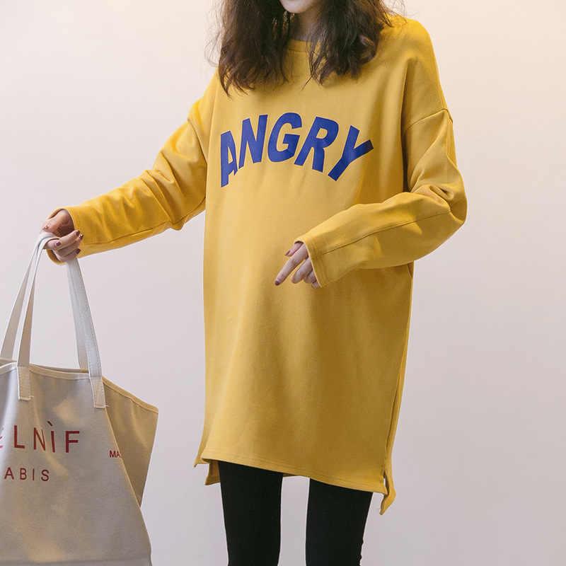Las mujeres embarazadas Otoño Invierno ropa nueva chaqueta de maternidad suéter largo de tamaño grande de las mujeres de otoño