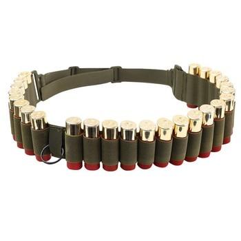 Tactical 25 Rounds 12/20 Gauge Shotgun Ammo Belt Shell Holder Bandolier Belt Military Hunting Gun 12/20 GA Bullet Cartridge Belt 2
