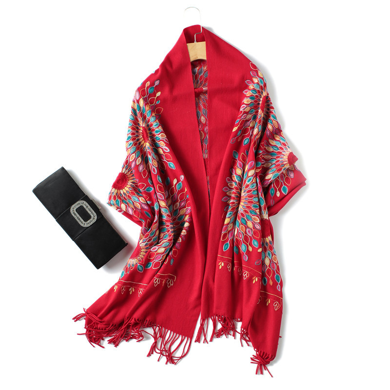 ladies red bandana winter fashion scarf women Écharpe Embroidery thick warm cashmere scarves shawls and wraps one size