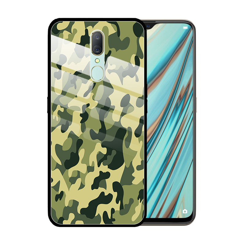 Camouflage Leopard Printed Tempered <font><b>Glass</b></font> <font><b>Case</b></font> Cover for <font><b>OPPO</b></font> A11X A9 2020 A5 <font><b>A3</b></font> A1 A83 A77 A59 A7X A57 Coque Funda image