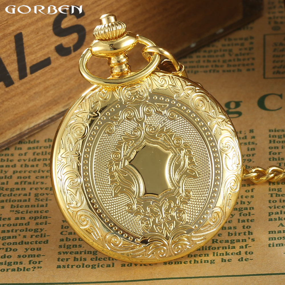 Luxury Golden Case White Dial Roman Number Quartz Pocket Watch Pendant FOB Chain Mens Women Gifts