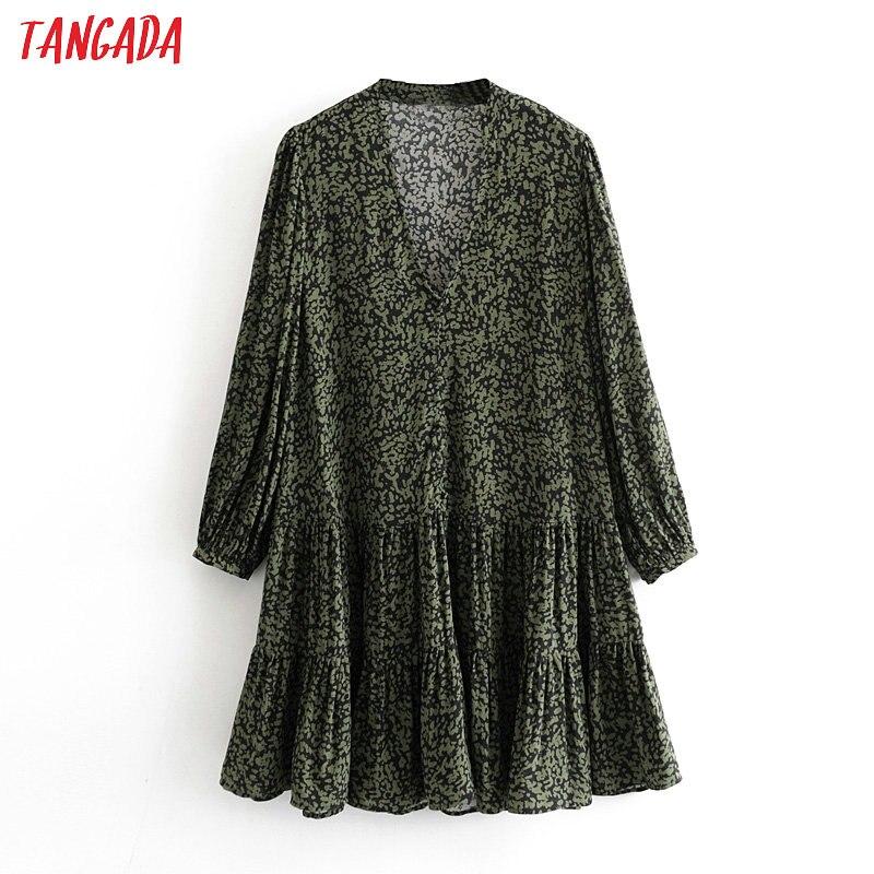Tangada Fashion Women Leopard Print Mini Dress Pleated Long Sleeve V Neck Vintage 2020 New Ladies Casual Dresses 3H447