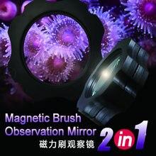 2 в 1 аквариумная морская вода, аквариум Магнитная щетка для очистки, увеличительное стекло, скребок для очистки кораллов и лесных водоросле...