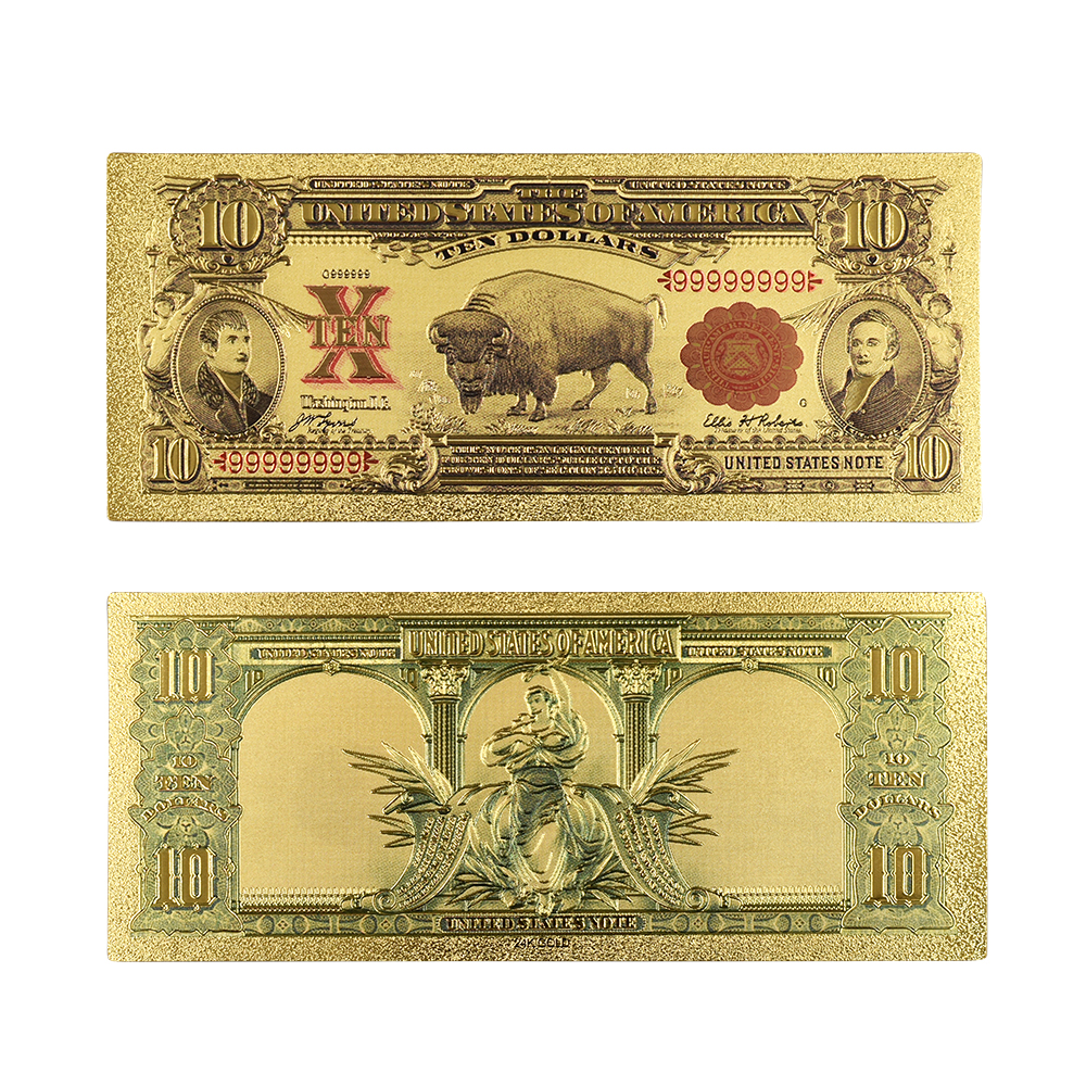 Hot Sale Color USA Gold Banknotes 10 Dollar Banknote In 24k Gold 1901 Year's Fake Money for Collection