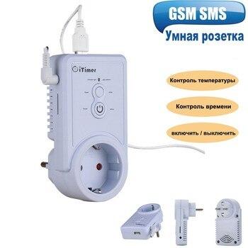 الروسية SMS التحكم GSM الذكية قابس طاقة مقبس الحائط التبديل المخرج مع استشعار درجة الحرارة التحكم الذكي في درجة الحرارة